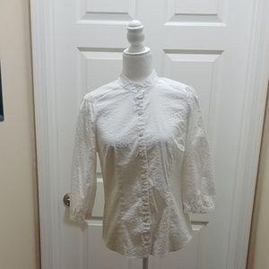 Apostrophe stretch white work shirt